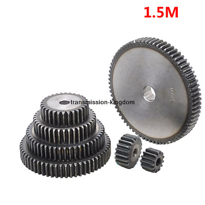 1Pcs 45# Steel Spur Gear 1.5 Mod Pinion Metal Gear 12 Tooth-76 Tooth Moter Gear