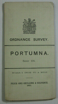 1904 Old OS Ordnance Survey Ireland One-Inch Second Edition Map 116 Portumna