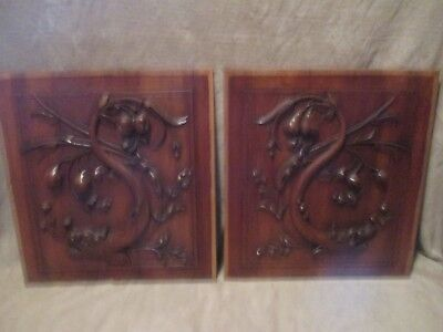 Pair of Panels Anciens Portes Chimères Bois Carved Notice - Sign - Plaque - New