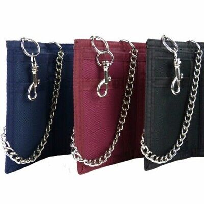 Mens Boys Plain Canvas Wallet CHAIN & Belt Clip Slim Pocket Size