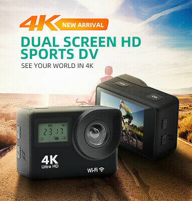 """2.0"""" Sports Action Camera 4K 1080P WiFi Camcorder 30m Waterproof Dual Screen Cam"""