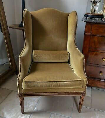 Antique French Walnut Framed Wing Chair
