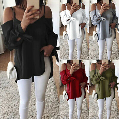 Plus Size Women Off Shoulder Tops Solid Long Sleeve Loose Casual T Shirt Blouse