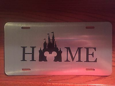 Disney Parks Home Walt Mickey Mouse Custom Vinyl License Plate - Silver