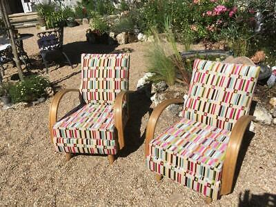Pair of Mid Century Spring Loaded Chairs by Jinrich Halabala  Fully restored