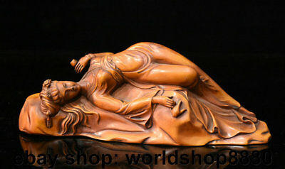 """8.6"""" Old Chinese Boxwood Wood Carved Palace Sleeping Woman Beauty Girl Statue"""