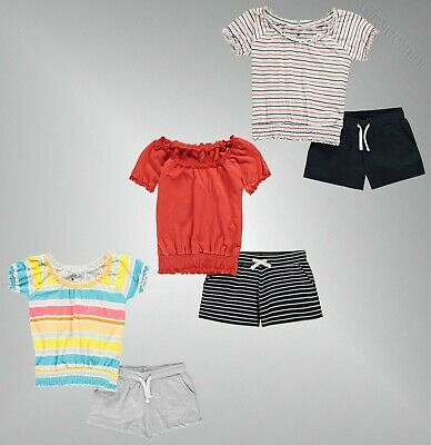 Girls Crafted Short Sleeves T-Shirt and Drawstring Shorts Set Sizes from 7 to 13
