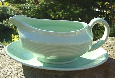 Vintage Woods Ware Beryl Gravy Boat & Plate - Very Good Condition - Kitchenalia