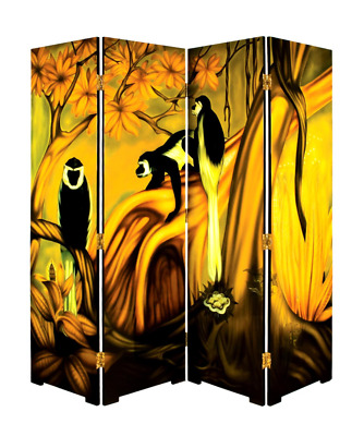 Art Deco Circa 1930 Lacquered Paravent Screen