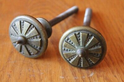 Large Brass Knobs Vintage Dresser Drawer pull Lot of 2 Finial Toppers Antique