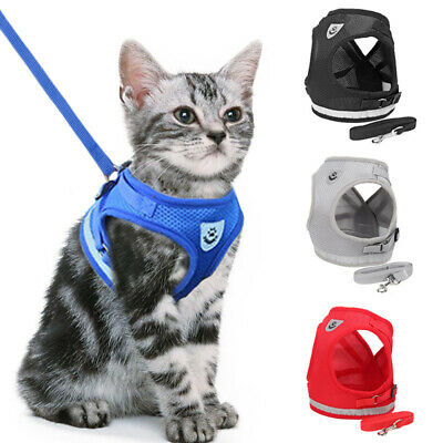 Small Pet Cat Control Harness Dog Soft Mesh Walk Collar Leash Safety Strap Vest