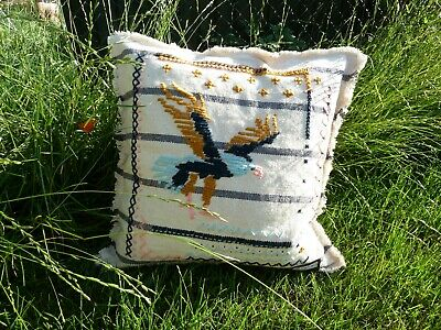 Hand Embroidered Eagle Cushion Cover Bird Native American Design Lumber Pillow