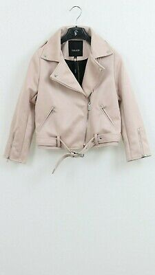 Gianni Feraud Girls Pink Poly Leather Suede Casual Biker Jacket SIZE 7-8 YRS