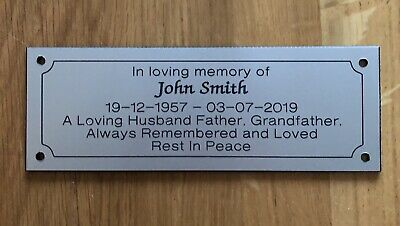Silver Personalised Engraved Memorial Bench Plaque
