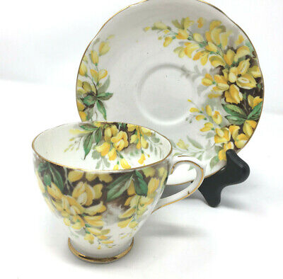 Royal Standard Laburnum Cup with Saucer Gold Trim Yellow Flowers Tea Coffee