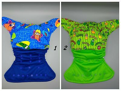 Cloth diaper SassyCloth one size pocket diaper with veggie tales cotton print.