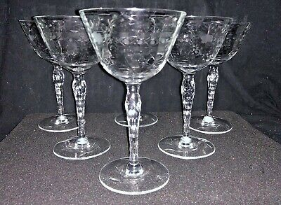 6- Hand Cut Crystal Sherbet Wine Glass Goblets Intricately Faceted Stems