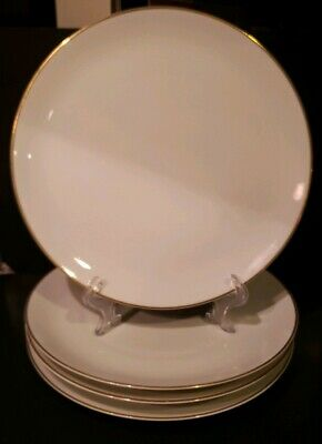 Rosenthal/Continental Raymond Loewy Set Of 4 White Gold Trim Dinner Plates...