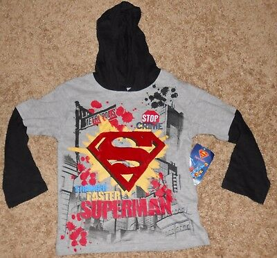 Boys long sleeve grey hoodie featuring Stronger, Faster, Superman, size is a 4