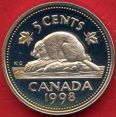 1998 Canada Silver Proof Frosted 5 Cent Coin (5.35 Grams .925)