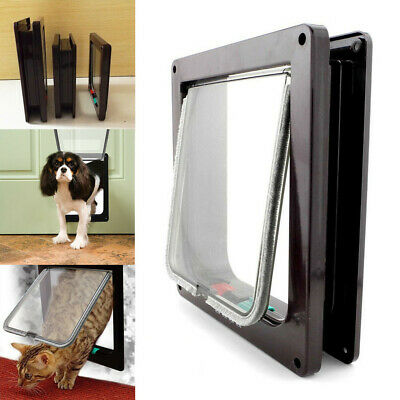 Brown 4 Way Locking Lockable Pet Cat Puppy Dog Magnetic Flap Door Gate S M L