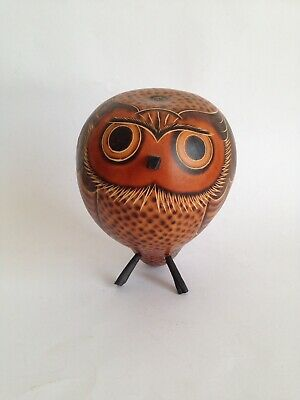 Vintage Hand Carved Owl Gourd Seed Pod Peruvian Folk Art Eclectic Shaker
