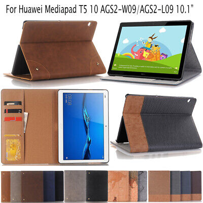 For 10.1 inch Huawei Mediapad T5 10 Slim PU Leather Card Slot Stand Case Cover