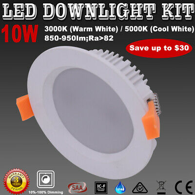 10W Led Downlight Kit Dimmable 70Mm Warm/Cool White Ip44 Samsung Smd Down Lights