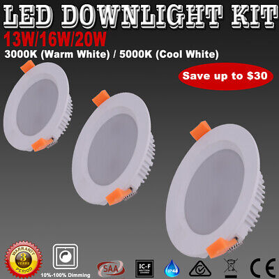 LED Downlight Kit Dimmable 13W 16W 20W Warm/Cool White Recessed Down Lights IP44