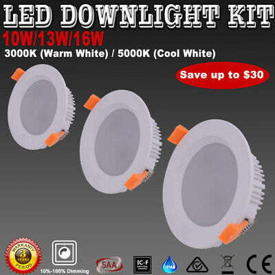 LED Downlights Kit Dimmable10W 13W 16W Warm/Cool White Recessed IP44 Down Lights