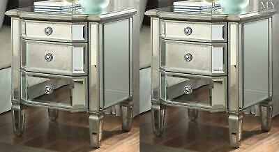 (PAIR) LEONORE Silver Bedside table - 3 Drw - Mirror & Antique Silver