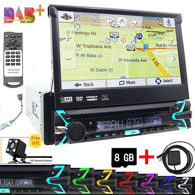 """1DIN CD-DVD Player 7"""" Flip Up GPS Navigation Bluetooth Car Stereo Radio with Map"""