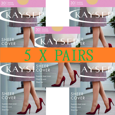 WOMENS 5 PACK KAYSER SHEER COVER TIGHT Stockings Pantyhose Plus Size Tights