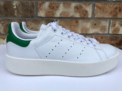 the latest 5de89 54eee WOMEN'S ADIDAS ORIGINAL Stan Smith Bold Athletic Shoes White Green S32266