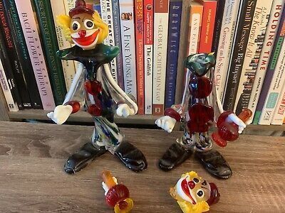 "Vintage Murano Venezia Glass Clown Figurines 9"" and 7"" BROKEN PLEASE SEE PHOTOS"