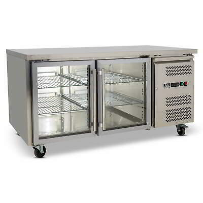 Two Door Commercial Glass Door Worktop / Bench Display Fridge 390L