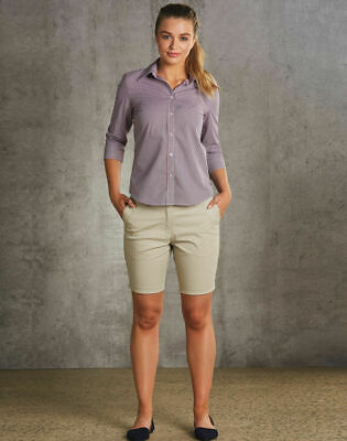 NEW LADIES WOMENS CHINO CASUAL WORK DRESS SAND COTTON TAILORED SHORTS POCKETS