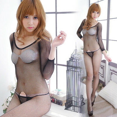 KQ_ Fishnet See-through Crotchless Women Bodystocking Sexy Solid Color Bodysuit