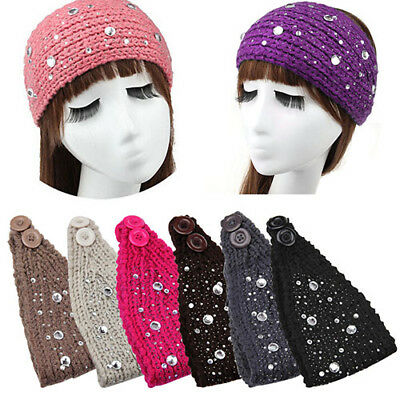 AU_ Hot! Turban Women Crochet Ear Warmer Headband Knit Hair Band Big Rhinestone