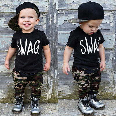 US Fashion Toddler Kids Baby Boy Tops T-shirt+Camo Pants 2Pcs Outfit Set Clothes