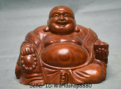 "7.2"" Old China Huanghuali Wood Carved Happy Laugh Maitreya Buddha Yuanbao Statue"