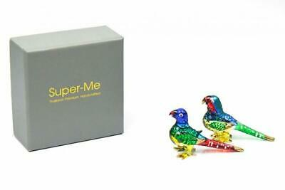 Set 2 Hand Blown Glass Lovely Parrot Figurine Gold Trim in Gift Box Hand Craft