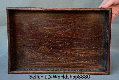 "14"" Antique Old Chinese Dynasty Palace Huanghuali Wood Hand Carved Plate Tray"