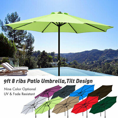 2.7M Parasol Umbrella Crank & Tilt Outdoor Garden Patio Canopy Sun Shade Round