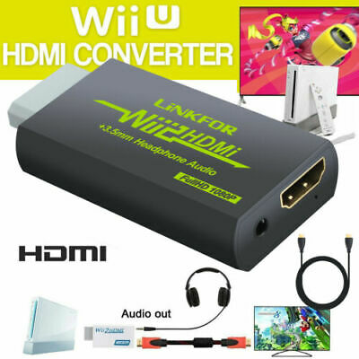Wii to HDMI Converter WII2HDMI 3.5mm HD Audio Video Adapter + HDMI Cable 1080P