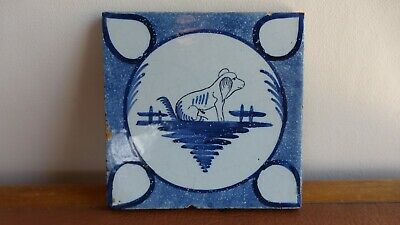 Antique french tile. Ancien carreau Nord . GEO MARTEL. Desvres. Dog. Chien