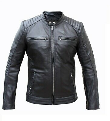 Men Real Black Leather Quilted Slim Fit Biker Jacket Casual Outwear LCM2