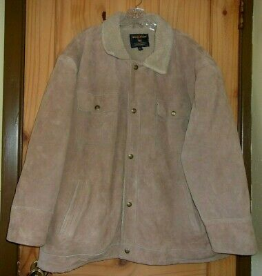Woolrich Vintage Brown Leather Faux Sherpa-lined Coat, Mens XXL