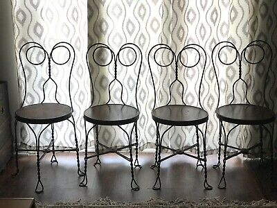 RARE Vintage Ice Cream Parlor 4 Chairs Set Twisted Metal