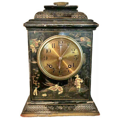Antique Winterhalder Hofmeier German Mantle Clock W/ Chinese Artwork Wooden Old